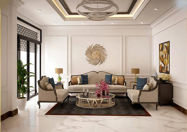 Chọn gạch cho nhà đẹp 2 tầng phong cách biệt thự tân cổ điển 2