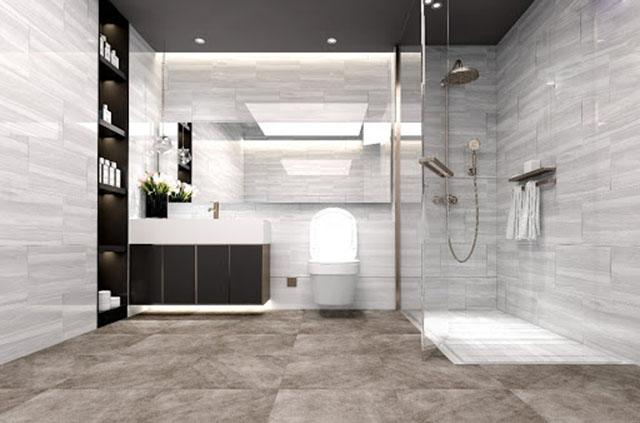 Gạch lát nền tạo phòng tắm thoáng mát