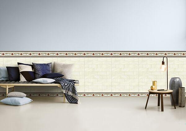 Gạch ốp tường phòng khách màu nghịch với nền nhà