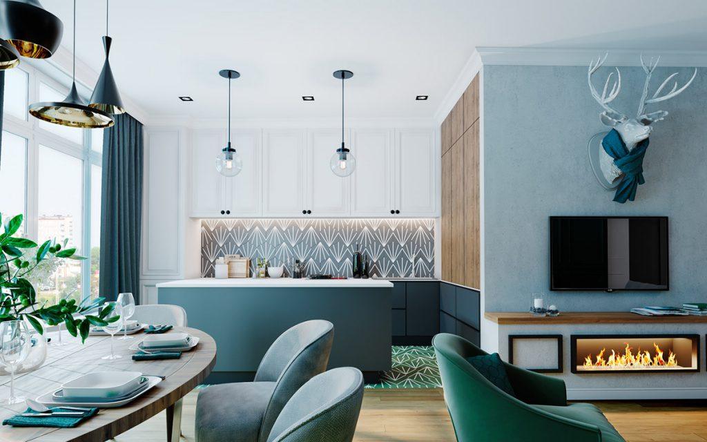 Màu gạch phòng khách phù hợp với người mệnh Thủy