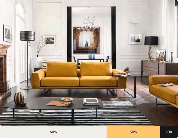Căn phòng này cũng có sự phối hợp màu gạch lát nền với màu sơn tường theo nguyên tắc 60 – 30 – 10 mang đến một không gian phòng khách đẹp ấn tượng