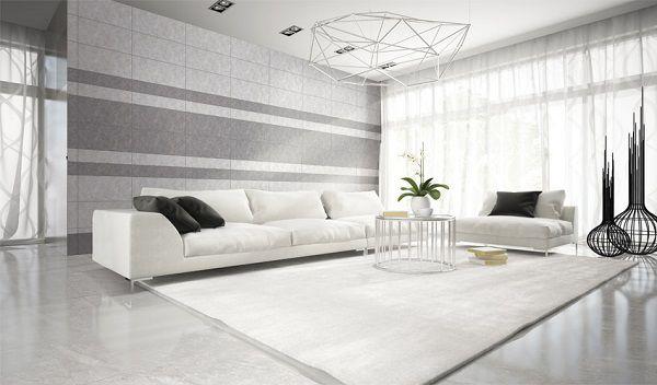 Gạch lát nền vân đá màu trắng kết hợp cùng với màu sơn tường tông sáng giúp cho không gian phòng khách trông sáng sủa, rộng rãi hơn hẳn