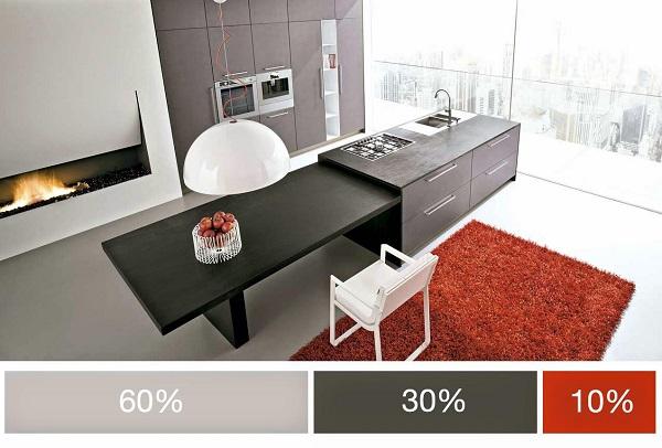 Tông màu xám là tông màu chủ đạo chiếm 60% không gian, tiếp đó là màu xám đậm và cuối cùng là màu đỏ – màu điểm nhấn chiếm 10% diện tích ứng dụng trong không gian