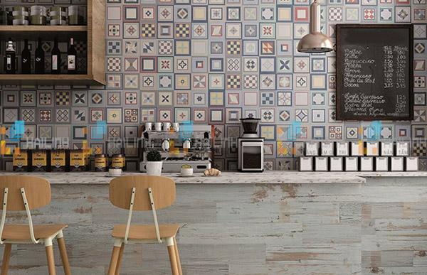 Gạch ốp tường quán cafe hiện đại