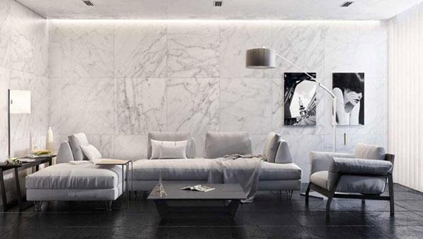 3 cách phối gạch ốp tường phòng khách CỰC ĐỘC ĐÁO 2